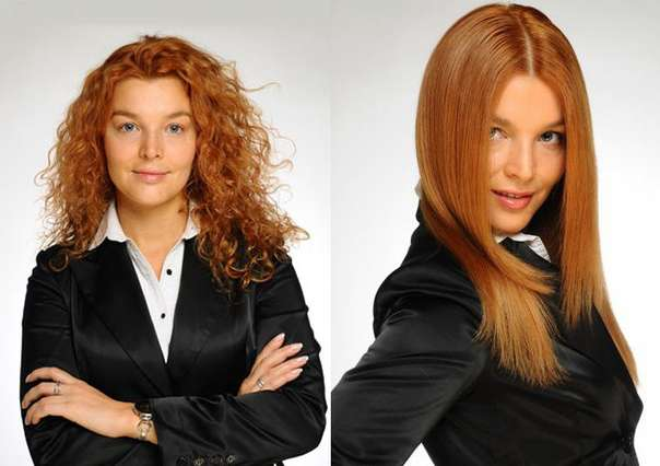 Девушка сделала бразильское выпрямление волос