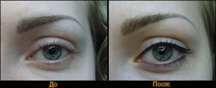 до и после перманентного макияжа век
