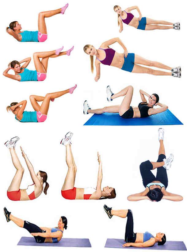 девушка делает упражнения для живота и боков