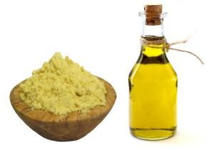 масло и горчичный порошок